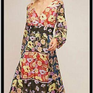 Anthropologie Maeve Gardenia Wrap floral Dress